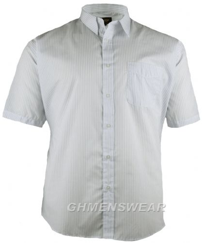 Metaphor White/Blue Stripe Short Sleeved Shirt